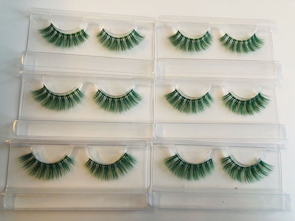 green Colored Eyelashes